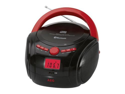 AEG Bluetooth CD-Radio SR 4348 BT Schwarz/Rot