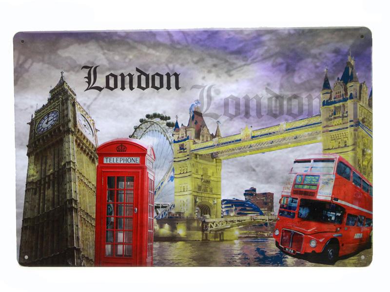 Vintage Blechschild Deko London Sehensw Rdigkeiten Retro