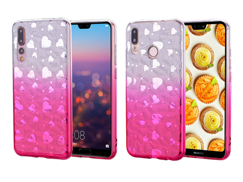 Handyhülle Huawei P20 Pro Lite Hülle Glitzer Glitter Case Bumper Cover Silikon