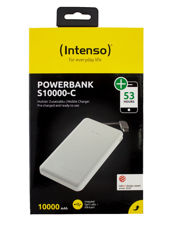 Intenso TypC Powerbank Mobile Ladestation Slim S 10000 mAh + MicroUSB Out Weiß