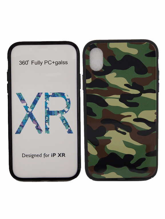Camouflage Rundum Case 360° für Apple IPhone XR Full Body TPU Hülle Cover Army