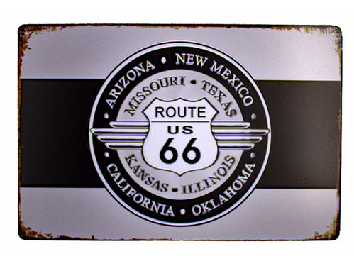 Retro Schild Deko Route 66 Amerika U.S High Way Road Vintage 30x 20x cm