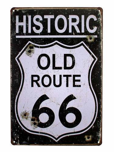 Retro Schild Deko Route 66 Amerika U.S High Way Road Vintage USA 30x 20x cm