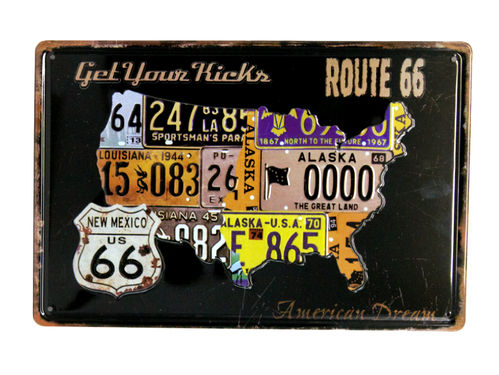 Blechchild Deko Route 66 Amerika U.S. High Way Road Schild Nummernschilder