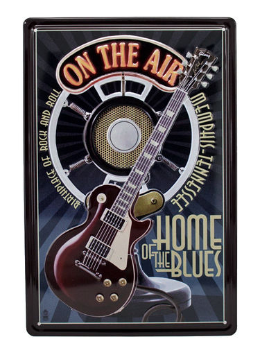 Blechschild ROCK AND ROLL Deko ON THE AIR Home of the Blues Radio Gitarre
