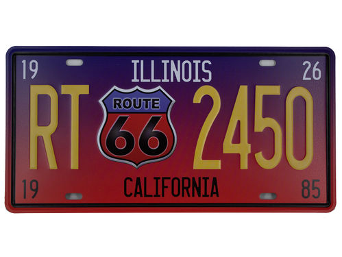 Retro Schild Deko Route 66  California Amerika U.S. High Way Road 30x 15x cm