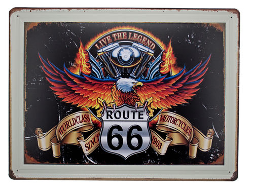 Retro Schild Deko Route66 Motorcycles Amerika U.S. High Way Road 40x30 cm