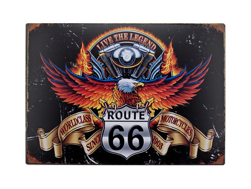 Retro Schild Deko Route66 Motorcycles Amerika U.S. High Way Road 20x30 cm