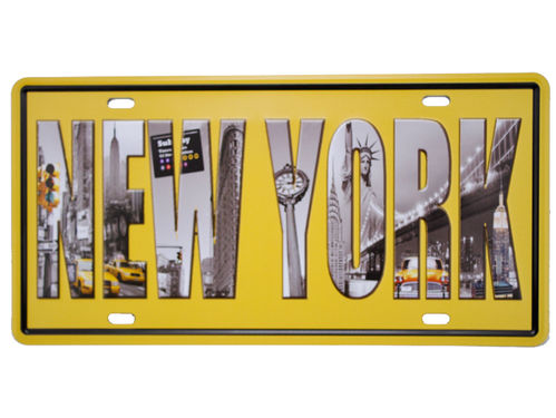 US Nummernschild Design Taxi NEW YORK Freiheitsstatue Lady Liberty Schild Deko