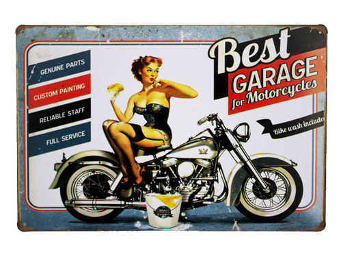 "Blechschild "" Best Garage for Motorcycles "" Retro Deko Schild Motorrad Bike Sexy Girl"